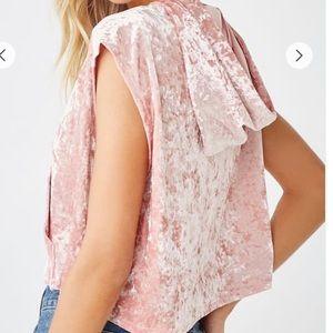 Pink velvet sleeveless hoodie